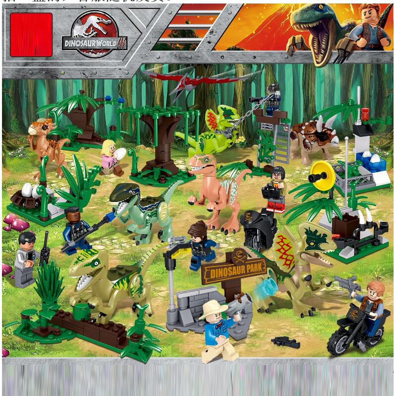 8Pcs Jurassic World Park Dinosaur Indomirus T-Rex Triceratops Baby Figures Building Blocks Bricks Kids Toys Compatible With8Pcs Jurassic World Park Dinosaur Indomirus T-Rex Triceratops Baby Figures Building Blocks Bricks Kids Toys Compatible With
