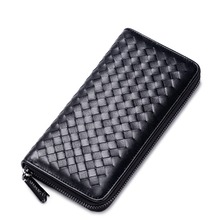 Men's Woven Style Genuine Cowhide Leather Clutch Bag Handbag Pouch Purse Long Zip Wallet Cash Phone Organizer Card Holder