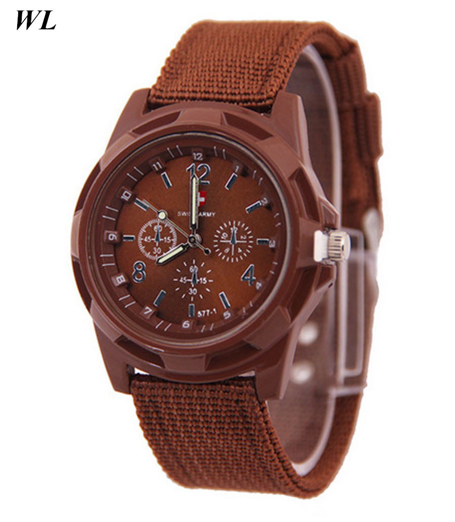 Free Shipping 10pcs/lot Mixed Wholesale Hot Sale Fashion Women Men Army Sports Clock Watch Fabric Braided Rope Quartz Wristwatch