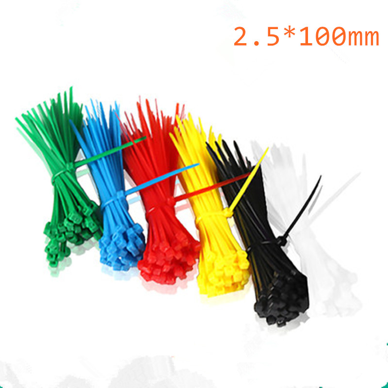 100pcs 2.5mm x 100mm Colorful Factory Standard Self-locking Plastic Nylon Cable Ties,Wire Zip Tie 100pcs lot 100mm x 3mm self locking network nylon plastic cable wire zip tie cord strap