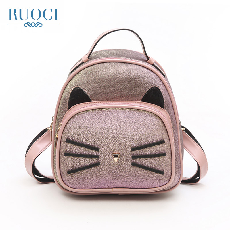 RUOCI Cute Small Cat Women Backpack High Quality Nubuck Leather Female School Back Pack Bag For Girls Travel Bags mochila mujer