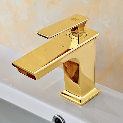 European Bathroom Faucet Gold Brass Square Section Single Hole Wash