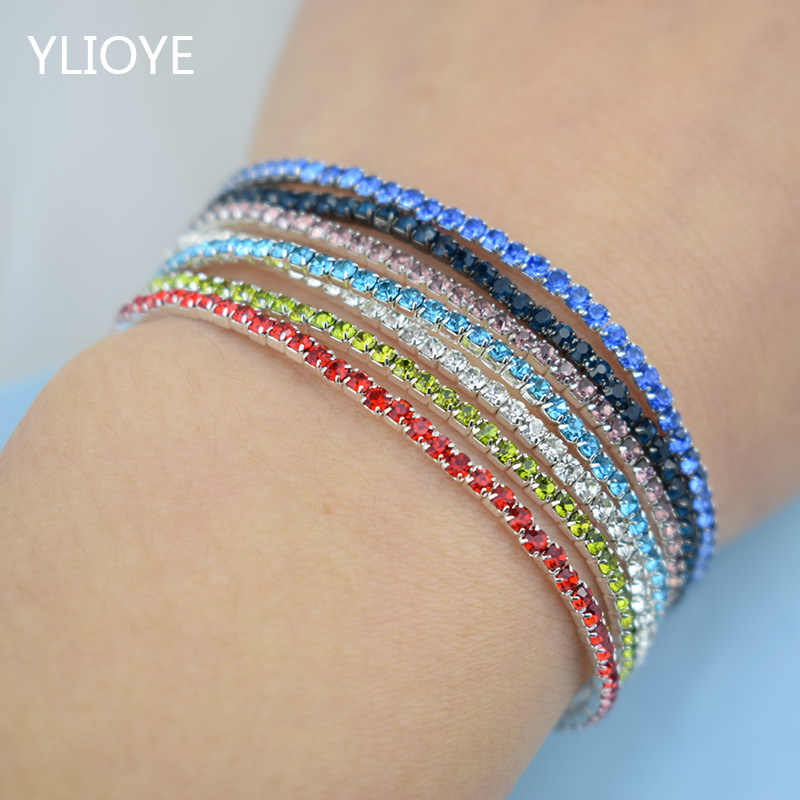 7pcs/Set Fashion Rhinestone Stretch Bracelets Femme Elastic Crystal Bracelets For Women Bling Girl Gift Wedding Bridal Jewelry