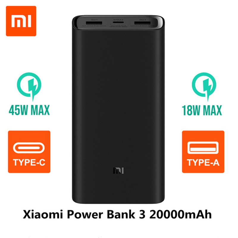 2019 NOVO Xiao mi Banco Do Poder 3 20000mAh mi Powerbank USB-C 45W Carregador Dual USB Powerbank Portátil para laptop Smartphone PLM07ZM