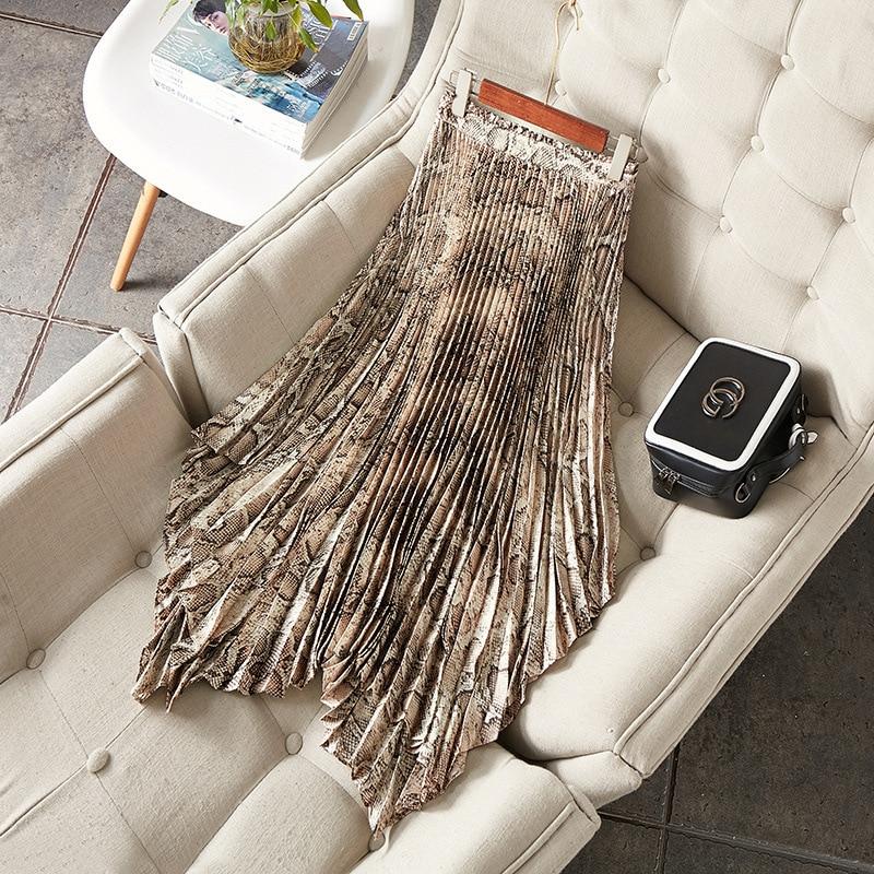 Women Fashion Animal Snake Skin Print Long Skirt Asymmetric Sexy Skirts New 2019 Spring Summer Retro Rtrt