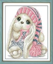 Dikiş, DIY Xaç dikişi, Nakış dəstləri üçün dəstlər, 11CT & 14CT, Yun şapkalı bir dovşan