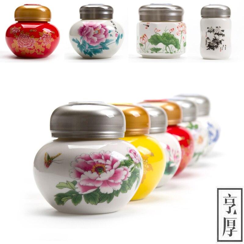 China Storage Bottles High-grade ceramic tea canister Gift, Tea Sugar Bowl Salt shaker storage, Liquid storage sealed cans,