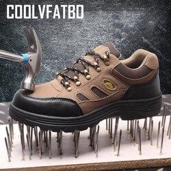 COOLVFATBO Для мужчин работы и защитные ботинки, обувь Открытый Сталь носком Кепки военные Для мужчин строительство противоскользящие проколов ...