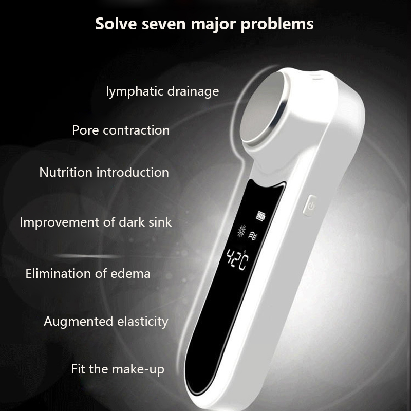 Ultrasonic Cryotherapy Hot Cold Hammer Face Lifting Facial Massager 6/45 degrees alternately Shrink pores Skin Care Beauty Tool
