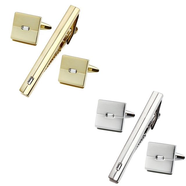 Quadrado de Prata e Cor do Ouro com Cristal Homem Camisa do Manguito os links e Tie Bar Grampos de Conjunto para o Casamento e Negócios jóias