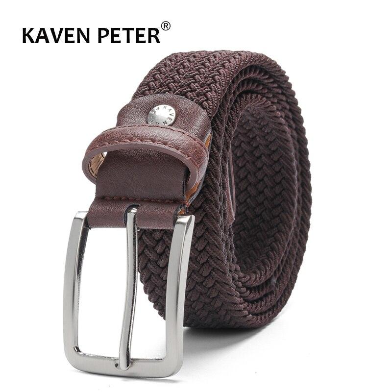 Cinto elástico para homens e para mulheres cinto de cintura lona estiramento trançado tecido cinto de couro 1-3/8