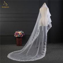 Свадебная фата с кружевной аппликацией белая/цвета слоновой