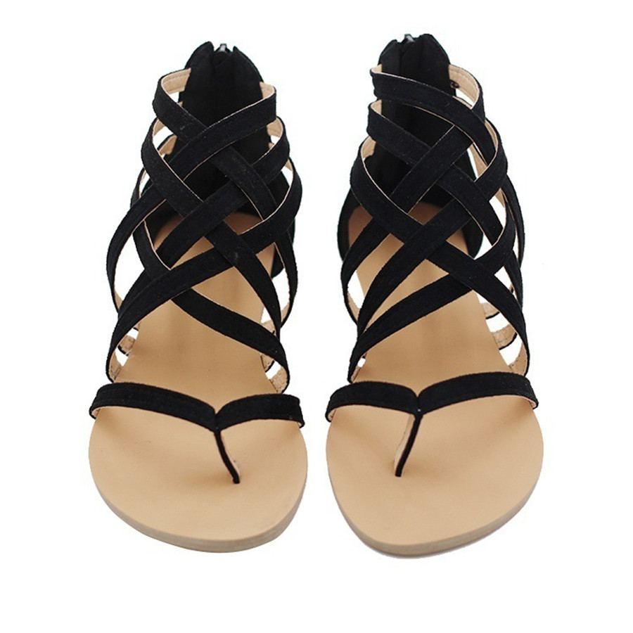 032bb998b2c854 Aliexpress.com   Buy Europe and the United States Foreign trade Women s  shoes Large yard Flat with Roman sandals Cross strap Rubber bottom shoe  from ...