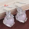 UMY Silver Plated Natural Rose Quartz Stone Inlay Chinese Dragon Earrings For Women Vintage Jewelry