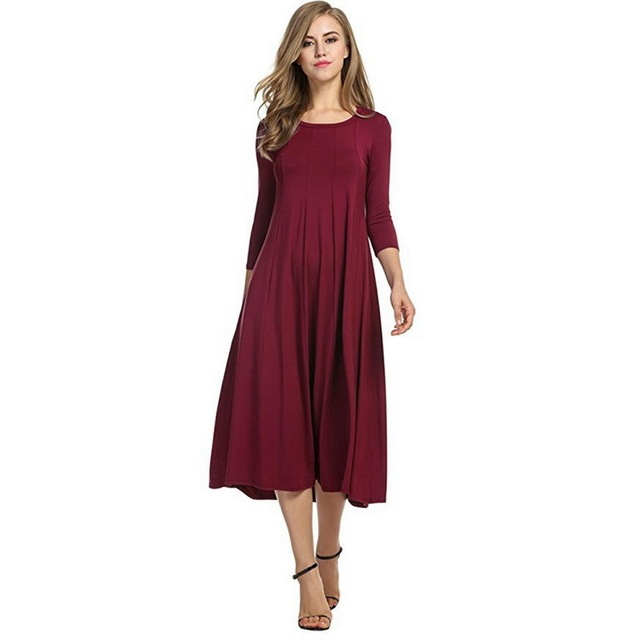 e1667709c40 2018 Pleated Long Dress For Women Summer Autumn Plus Size Party Club  Fashion Lady Dresses Casual Female Cotton Red Girls Dress