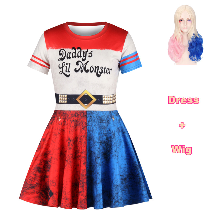 Cosplay costume Suicide Squad Harley Quinn Dress Clown great Girl Sorcerer Headdress Uniform Child halloween for kids Dresses