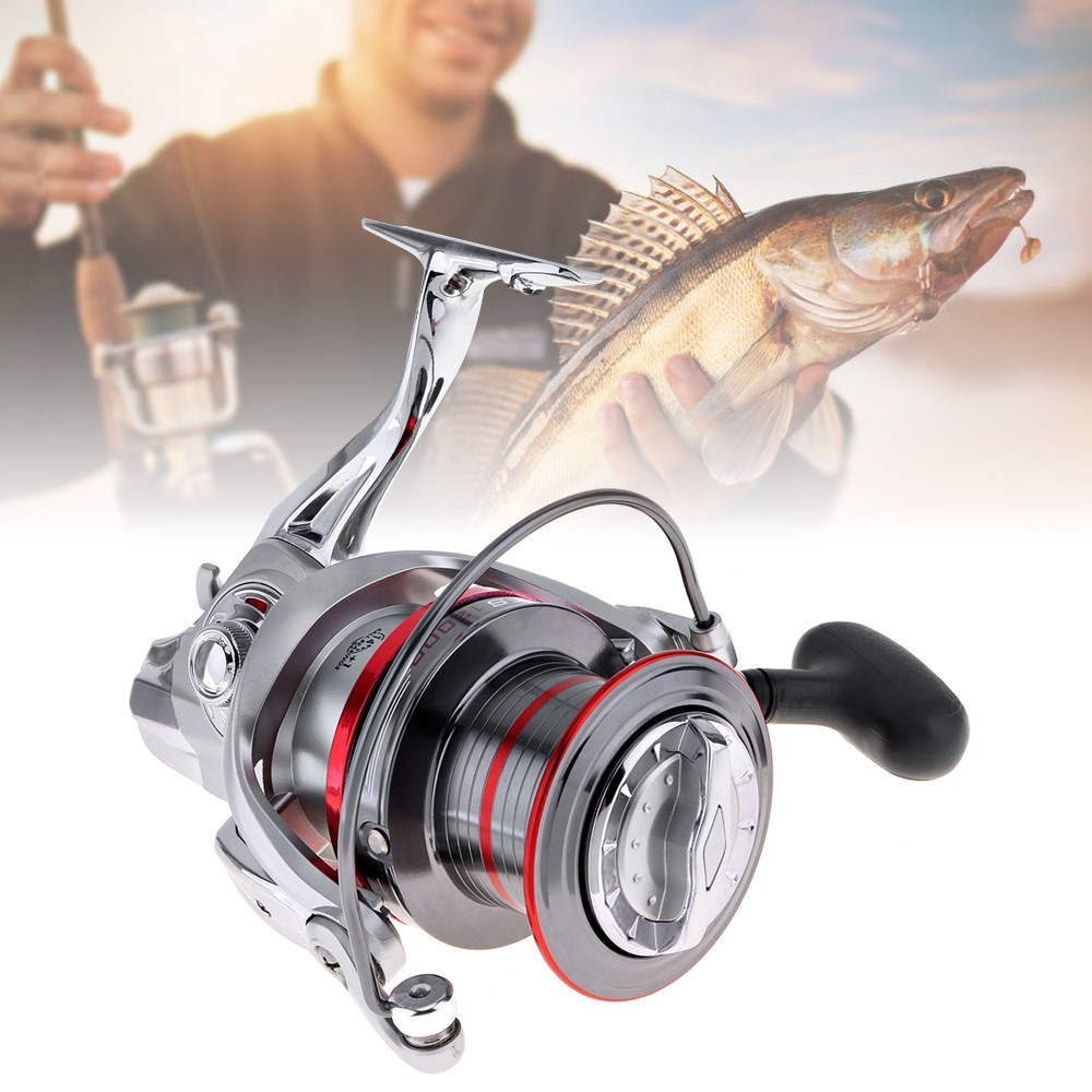 цена на Quality Full Metal Spinning Fishing Reel 12000 Series 14+1 Ball Bearing Long Distance Surfcasting Wheel with Larger Spool