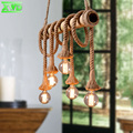 R Hemp Rope Bamboo Tube Pendant Lamp Parlor/Coffee House/Dining Room/Bar/Shop Indoor Lighting E27 Lamp Holder 110-240V