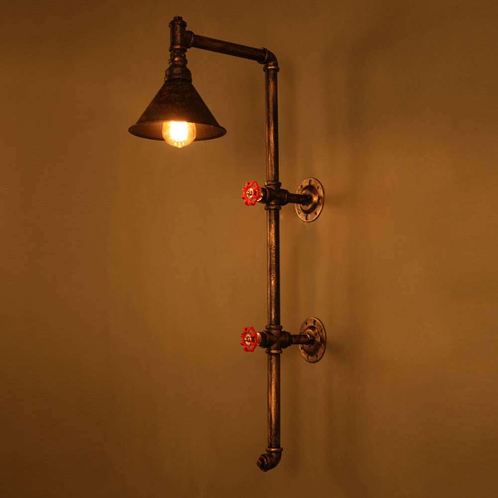 Loft Wrought Iron Industrial Water Pipe Vintage Retro Wall Lamp Sconce Creative Beside Lamps E27 Edison Light Fixture Wall Light  цена и фото
