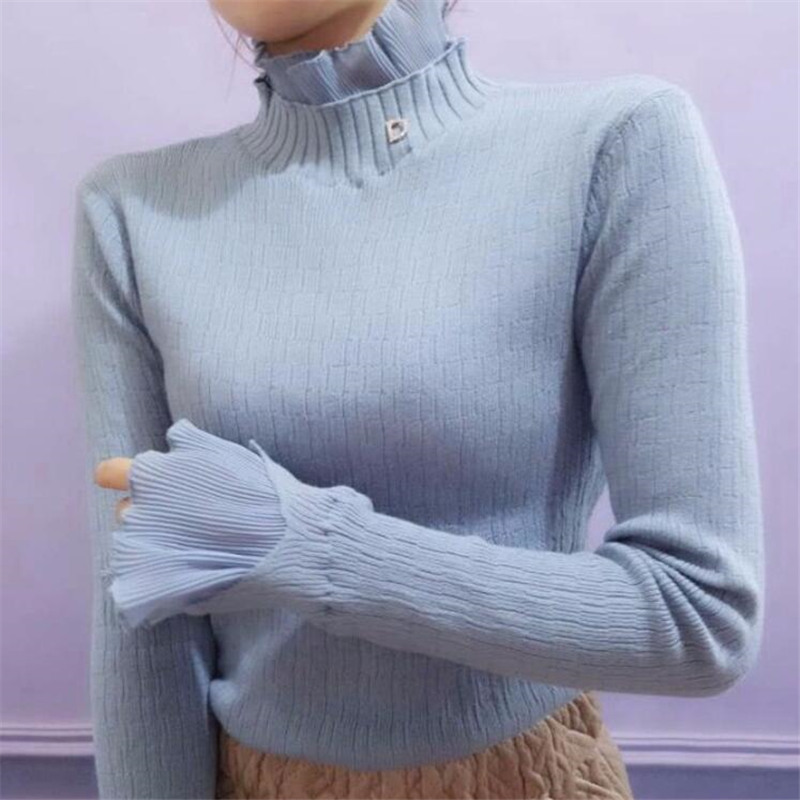 Ruffled Collar Autumn Winter Women Pullovers Sweater Knitted Elasticity Casual Jumper Fashion Slim Winter Warm Female Sweaters