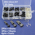 SM2.54 Kits 25 sets Kit in box 2p 3p 4p  2.54mm Pitch Female and Male Header Connectors Adaptor