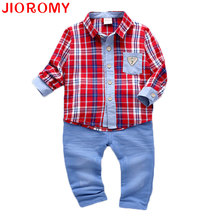 JIOROMY 2017 Baby Boys Suits Plaid Shirt + Pants 2 Pieces Set Fashion Infant Kids Long Sleeve Fall Boxed Denim Stitching Suit