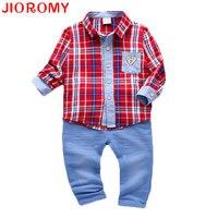 JIOROMY 2017 Baby Boys Suits Plaid Shirt Pants 2 Pieces Set Fashion Infant Kids Long Sleeve