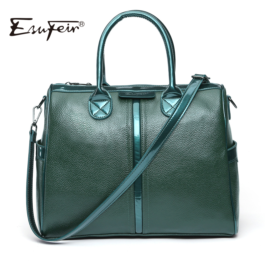 ESUFEIR Brand Genuine Leather Women Shoulder Bag Soft Cow Leather Luxury Handbags Women Bags Designer Patent Leather Casual Tote