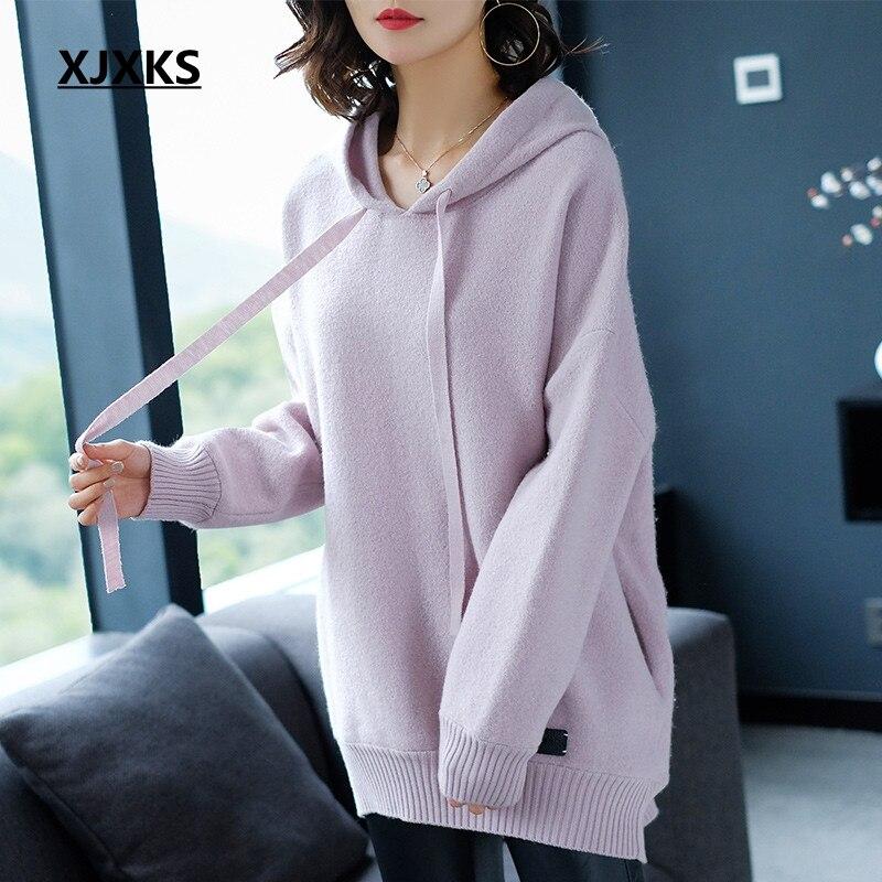 XJXKS mode style lâche coréenne femmes surdimensionné à capuche chuté manches confortable 100% laine tricoté long sweat femmes