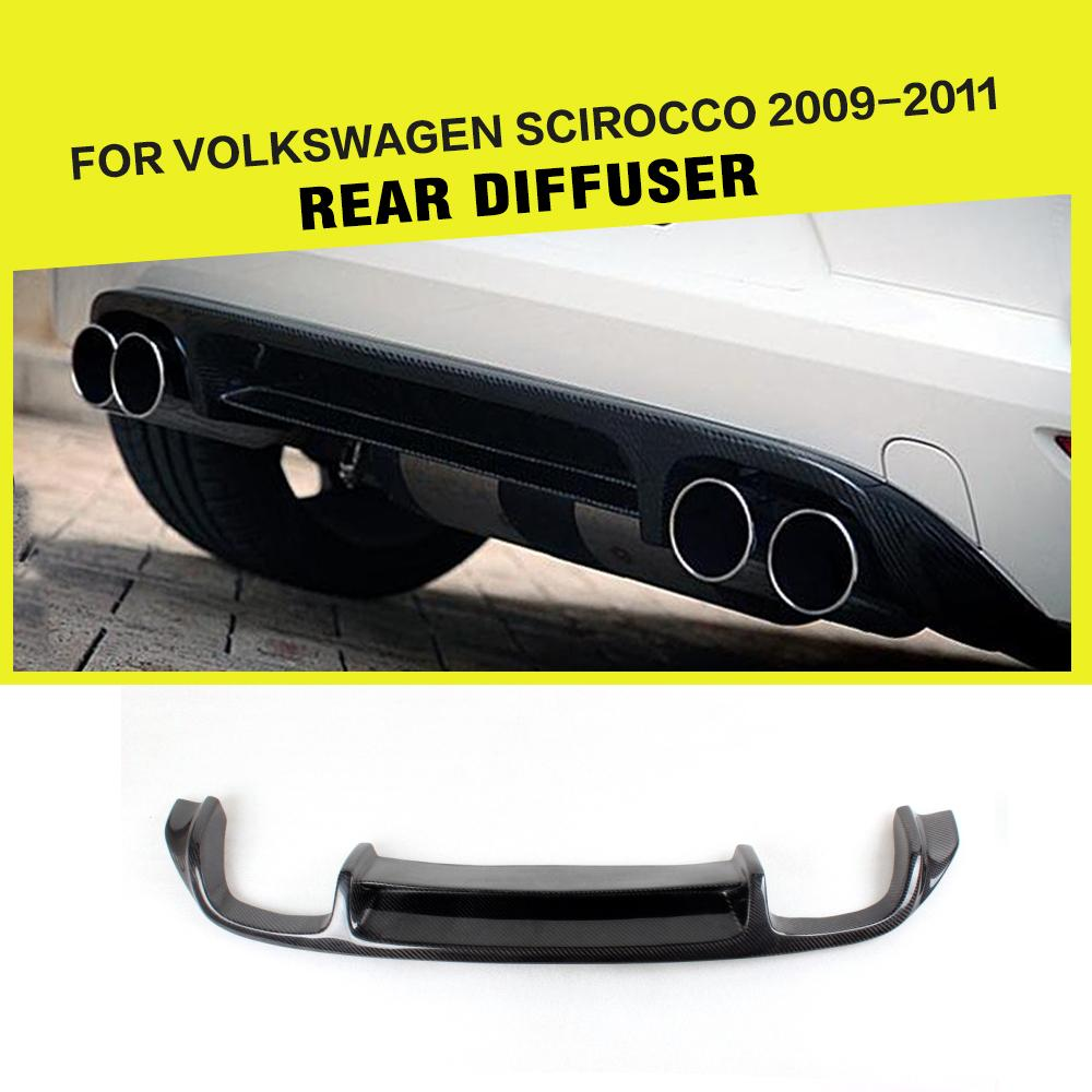 Углеродного волокна/FRP Черный Авто заднего бампера для губ Диффузор спойлер для Volkswagen VW Scirocco Стандартный бампера 2010 2013