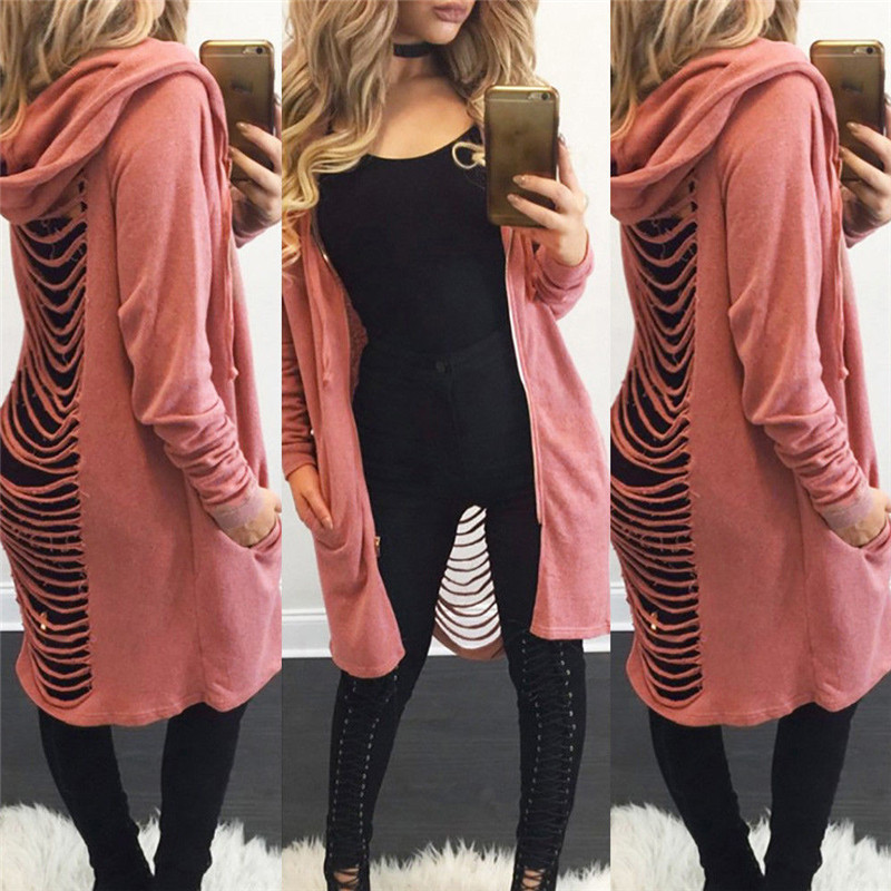 Fashion Women Lady Long Sleeve Hooded Hoodie Knit Sweater Outwear Loose Spring Autumn Back Hole Solid Hollow   Basic     Jacket   Coat