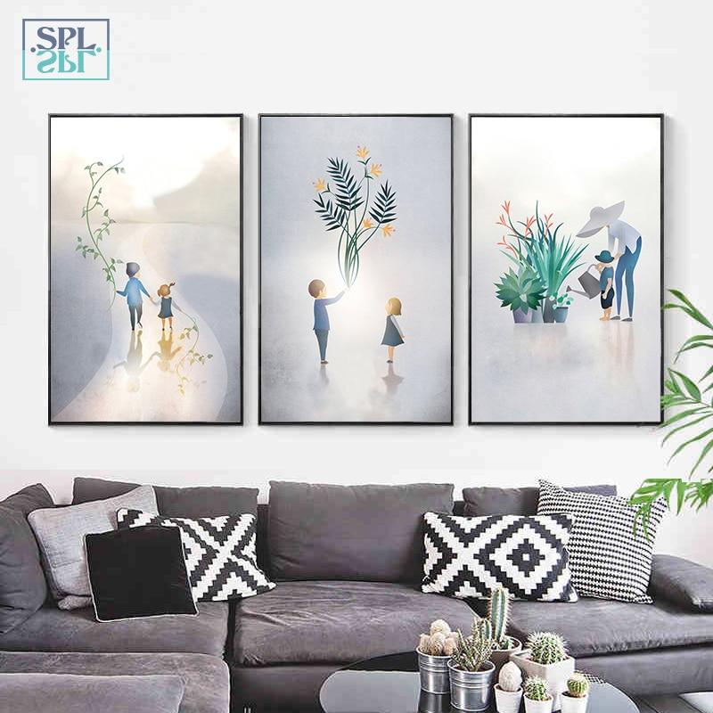 SPLSPL Children And Green Plants Canvas Art