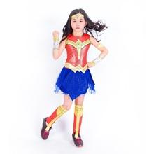 Купить с кэшбэком Wonder Woman Costumes Girls Fancy Party Dress Spiderman Cosplay Christmas Halloween Costumes for kids Supper Hero Costume