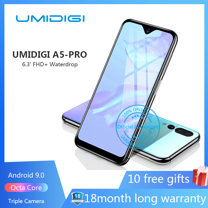 UMIDIGI A5 PRO Android 9.0 Octa Core téléphone portable 6.3 'FHD + 16MP Triple caméra 4150mAh 4GB RAM 32G ROM Smartphone gsm débloqué