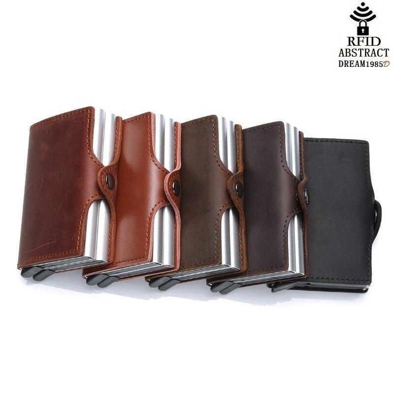 2019 RFID portefeuille vintage hommes en cuir véritable moraillon affaires porte-carte en Aluminium automatique de luxe femme Double couche sac à main classique - 6