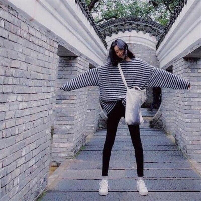 Hiver D'hiver Rayé Surdimensionné Tricoté Sukibandra souris Automne Black Blanc Striped Manches Pull Et Jumper Noir White Femmes Chandail Chauve Vêtements 5w4zfFx