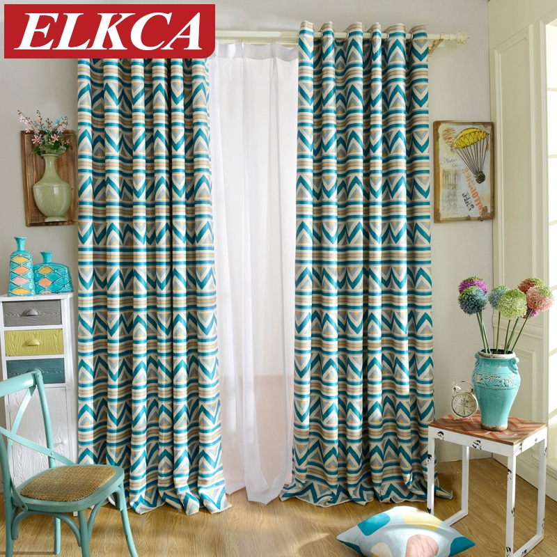elegant blue striped printed blackout curtains for living room window curtains for the bedroom baby room - Blackout Shades Baby Room