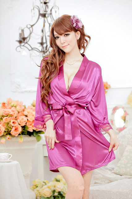 Summer Autumn Women Robe Set Sexy Nightdress Fashion Solid Half Sleeve High Quality Rayon Pajamas sexy Sleepwear For Women 142