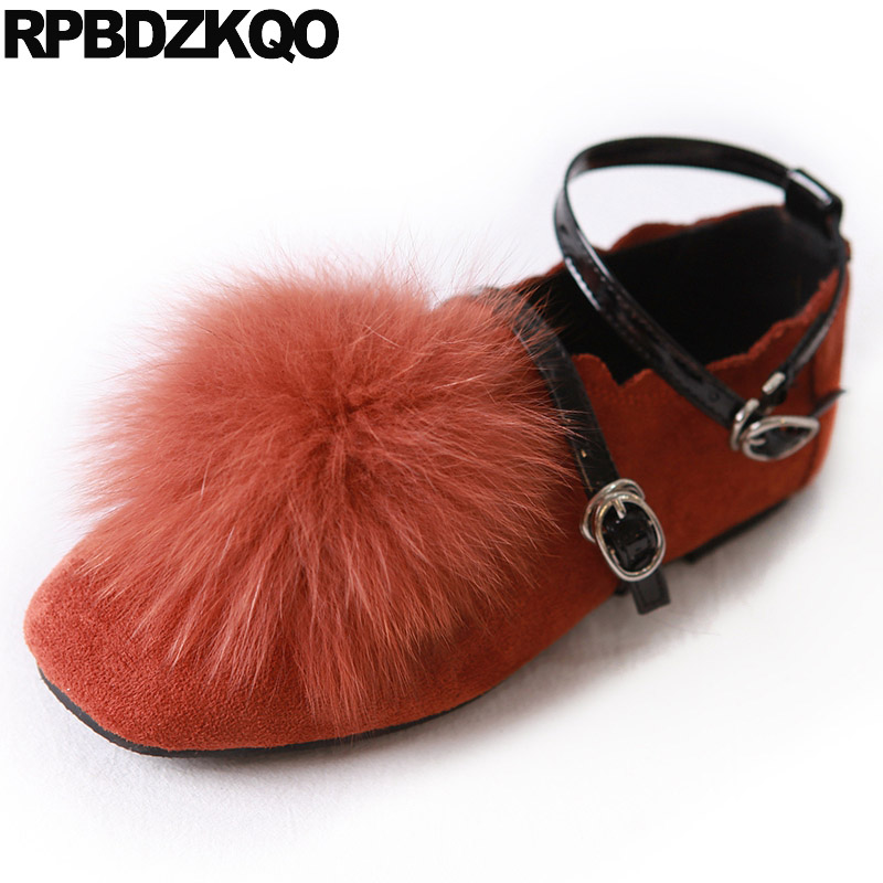 2017 Fur Ladies Metal Ankle Strap Flats Korean Brown Suede 5 Women Square Toe Beautiful Shoes Latest Spring Autumn Drop Shipping pointed toe 2017 large size rivet ladies latest metal flats ankle strap red wine star pearl women beautiful shoes drop shipping