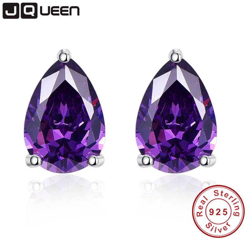 e2fdb0eb2 Vintage Purple Amethyst Stone Pierced Earrings Band Quality Small Stud  Earrings Sterling Silver Birthday Gift For