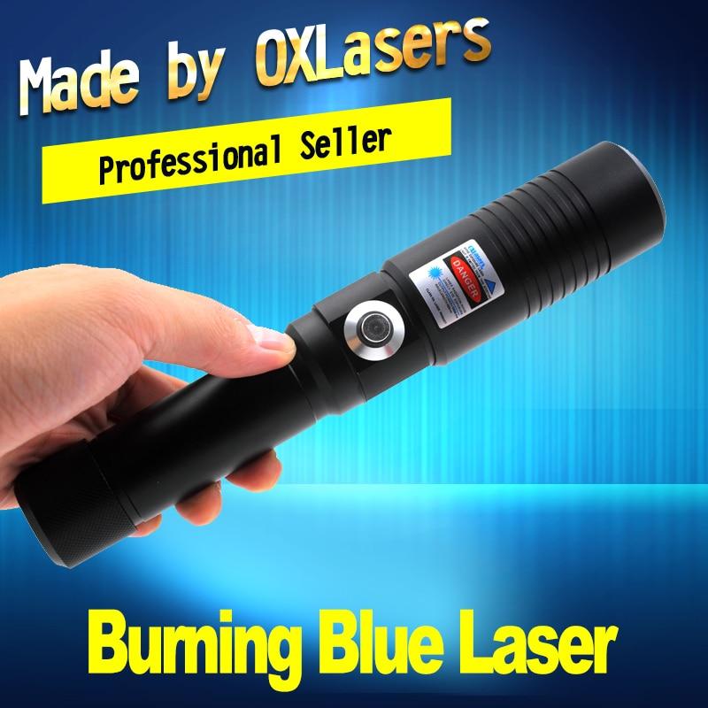 Oxlasers ox-OX-BX9 5000 m Laser di Masterizzazione Torcia 445nm Focusable blu puntatore laser con chiave di sicurezza bruciare la carta di trasporto libero