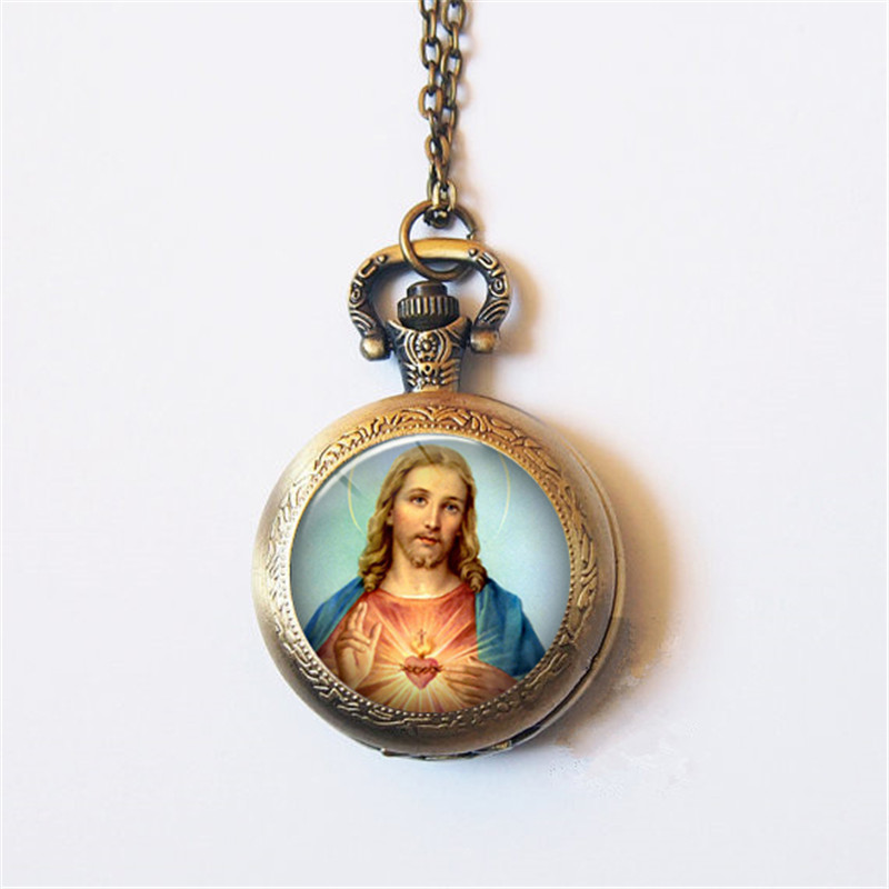 Jesus Christ Taught Religious Style Retro Classic Jesus And The Virgin Maria Quartz Pocket Watch Gift Watch