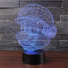 Cartoon Novelty LED Night Light Mario Colorful 3D ABS Lights AA battery or USB Lamp Led lamp Tafellamp kids