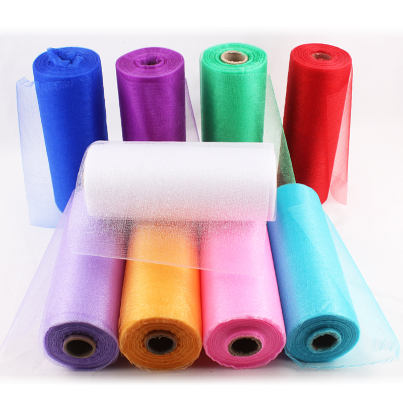 HAOCHU 8 Wide White Organza Roll Tulle 9 Colors DIY TUTU Skirt Fabric For Table Runners Wedding Baby Shower Decoration 20m/lot