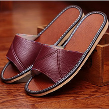 Classic Solid Color Genuine Leather Couple's Summer Indoor Slippers Anti-Slip Comfortable and Warm Home Shoes for Men&Women