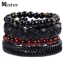 Punk Rock 4pcs/set Leather Bracelet Men Charm Handmade Braided Braslet Natural Stone Buddha Braslet Yoga Prayer Jewelry Pulseras