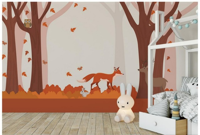 Custom 3d Wallpaper For Walls 3 D Wall Murals Forest Hand Painted Tree Deer Fox