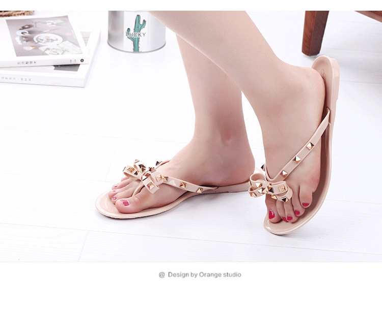 HTB1 SciVXzqK1RjSZFoq6zfcXXa4 2019 new slippers female summer fashion rivet bow flip flops wear wild flat jelly shoes sandals and slippers