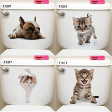 Creative 3D cute Cats hole decorative stickers on the wall PVC Animal stickers on the toilet seat bathroom fridge door stickers