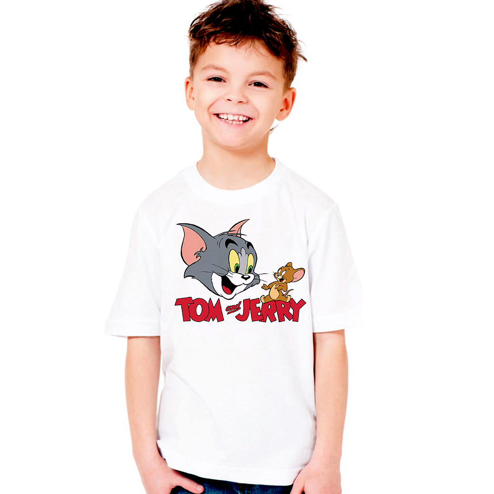 2018 New Tom and Jerry Kids T Shirt Children Cat Mouse T-shirts Boys Girls Unisex Tshirts Baby Tops Tees Cartoon Clothes Toddler 2017 new fashion children clothes angry bird t shirts for boys and girls cartoon 100